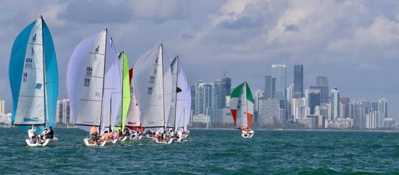 J70 start - 2018 Bacardi Invitational Winter Series photo copyright Kathleen Tocke taken at Key Biscayne Yacht Club and featuring the J70 class