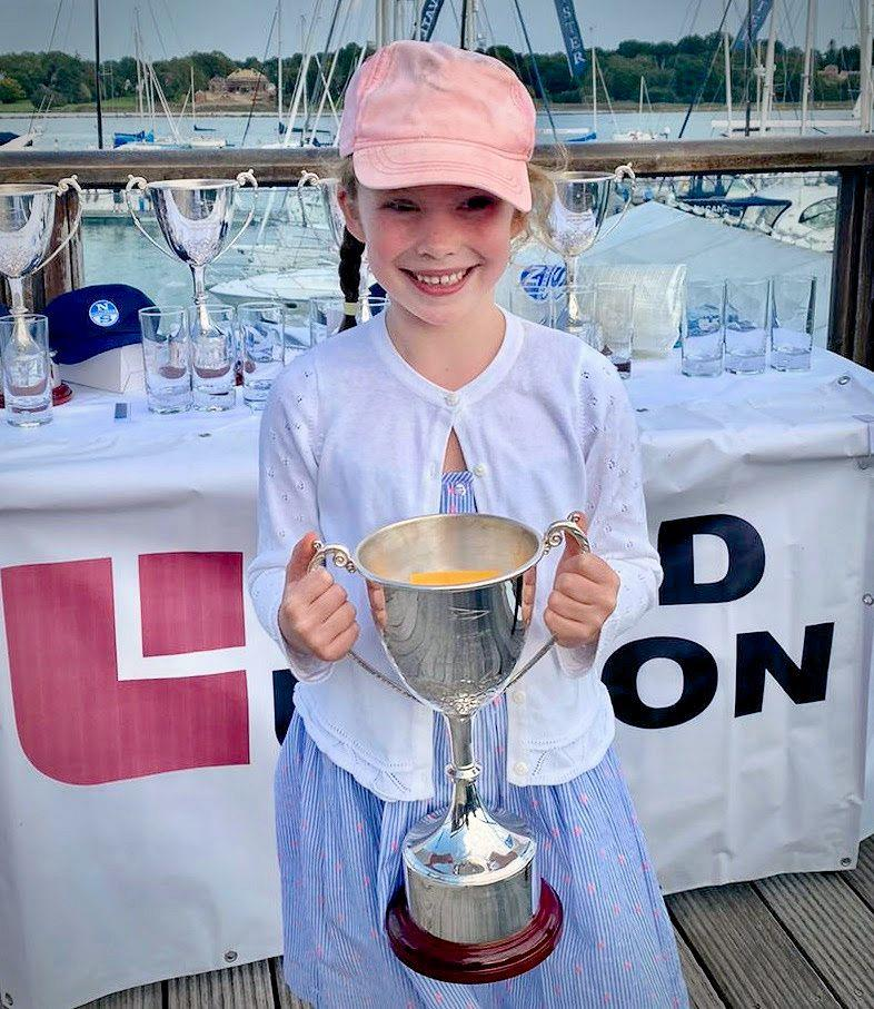 Maisie Richmond with the J70 Land Union Trophy in the Royal Southern YC's Land Union September Regatta 2020 photo copyright Louay Habib / RSrnYC taken at Royal Southern Yacht Club and featuring the J70 class