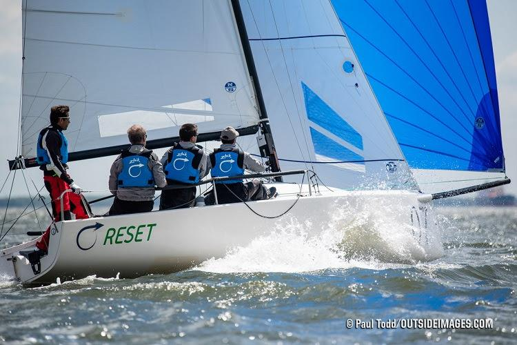 """Skipper Peter Barrett and crew of the J/70 """"Reset"""" use the opportunity of a high-wind cancellation on the opening day of the Helly Hansen NOOD Regatta Annapolis to get in some practice. - photo © Paul Todd / www.outsideimages.com"""