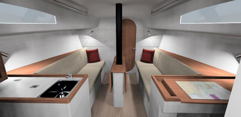 Below decks in the J/99 - said to be one of the front runners for the Olympic Offshore boat - photo © J/Composites