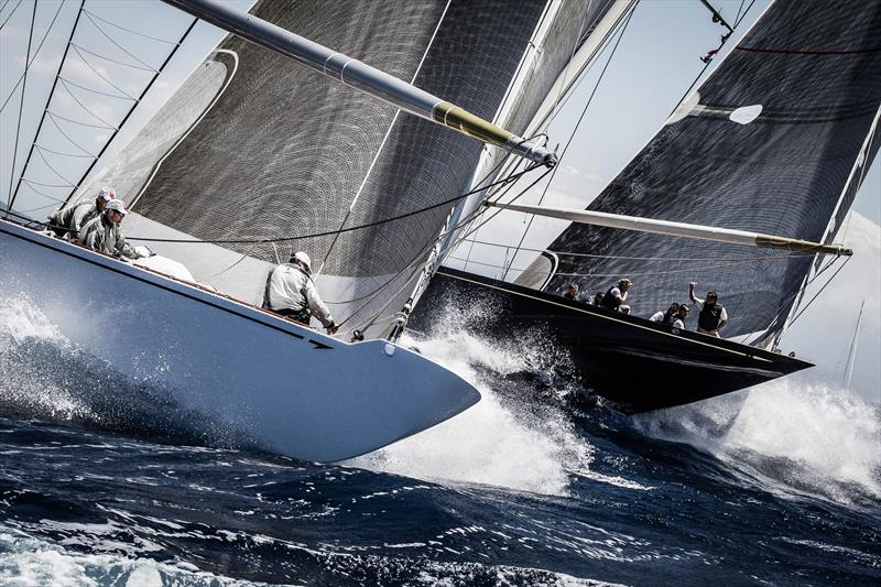 The J Class yachts Ranger (left) and Velsheda approach the top mark at Superyacht Cup Palma - photo © Ian Roman / www.ianroman.com