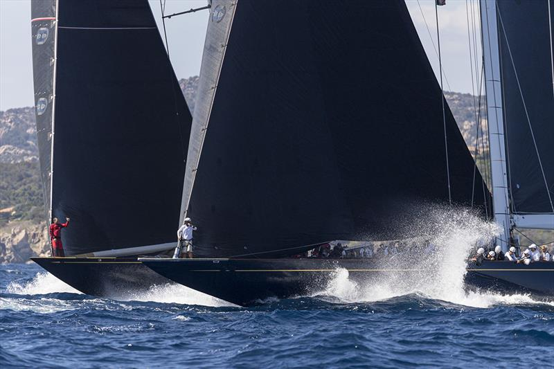 Neck and neck - Topaz versus Velsheda in the heavyweight J Class bout in the Supermaxi class - Maxi Yacht Rolex Cup 2019 - photo © Studio Borlenghi  / International Maxi Association