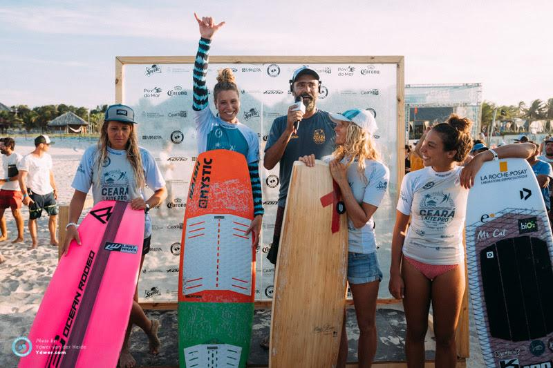 Women's podium - Jalou back on top - Final day - 2018 GKA Kite-Surf World Tour Prea, Round 6 - photo © Ydwer van der Heide