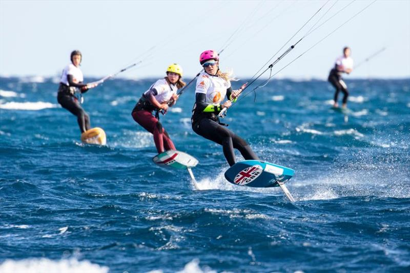 Ellie Aldridge (GBR) (right) gained a bit of breathing room ahead of Julia Damasiewicz (POL) (left) in the overall rankings today following a protest in Race 2 - Gran Canaria KiteFoil Open European Championships 2020, Day 1 - photo © IKA / Alex Schwarz