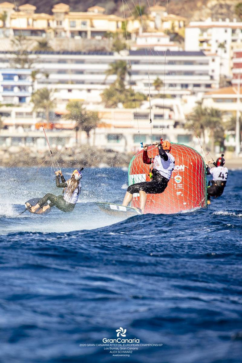 One of the features of the 'open' KiteFoil class is that men, women, youth and masters compete together regardless of age and gender - 2020 Gran Canaria KiteFoil Open European Championships photo copyright IKA Media / Alex Schwarz taken at  and featuring the Kiteboarding class