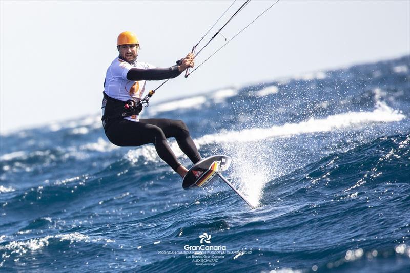 Florian Gruber (GER) in his unmistakable orange helmet, flys downwind at speeds around 40 knots - 2020 Gran Canaria KiteFoil Open European Championships - photo © IKA Media / Alex Schwarz