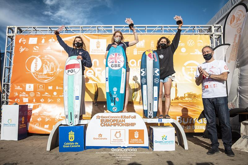 Womens' podium (left to right): 2nd-Julia Damasiewicz (POL), 1st-Ellie Aldridge (GBR), 3rd-Gisela Pulido (ESP) - 2020 Gran Canaria KiteFoil Open European Championships photo copyright IKA Media / Alex Schwarz taken at  and featuring the Kiteboarding class