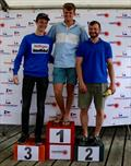 The podium: 1st Olly Cage-White, 2nd James Goodfellow 3rd Pierce Seward during Laserfest 2019 at Whitstable