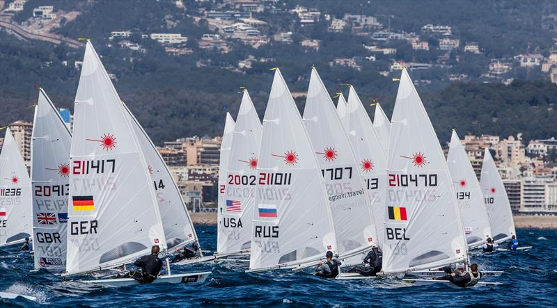 Laser Standard fleet start on day 1 of the 48th Trofeo Princesa Sofia IBEROSTAR - photo © Jesus Renedo / Sailing Energy / Trofeo Princesa Sofia IBEROSTAR
