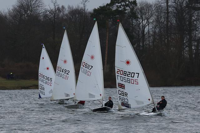Close racing at the front of the Laser fleet on day 5 of the Alton Water Frostbite Series - photo © Tim Bees