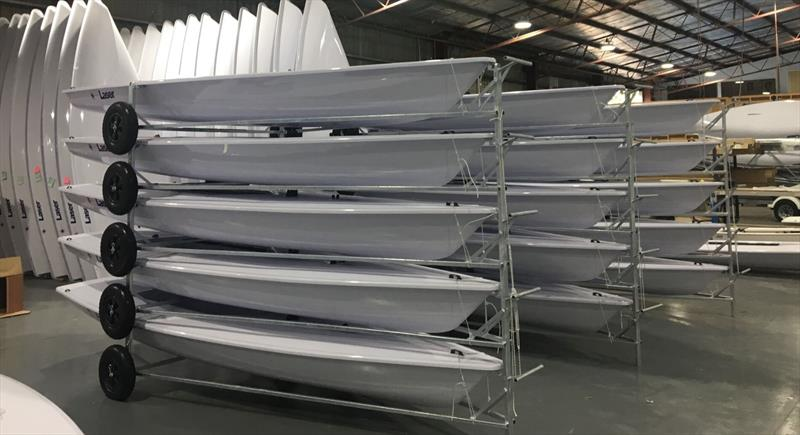 Royal Akarana YC's fleet of 20 new Lasers prior to being shipped at Performance Sailcraft Australia - photo © Jason Goulding