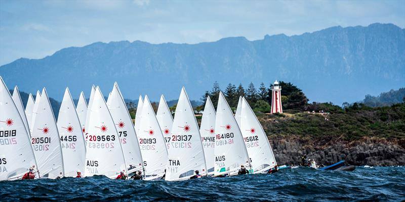 Laser fleet start off Mersey Bluff on Tasmanian NW coast - Laser Oceania and Australian Championship 2019 - photo © Beau Outteridge