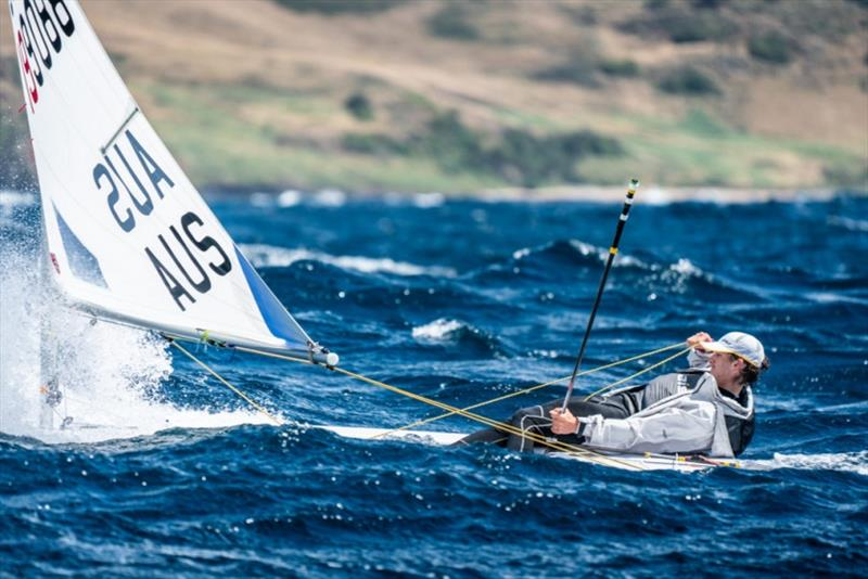 Overall leader Zac Littlewood (WA) revelled in the fresh conditions of the nationals on Bass Strait earlier in the week - 2019 Australian Sailing Youth Championships - photo © Beau Outteridge