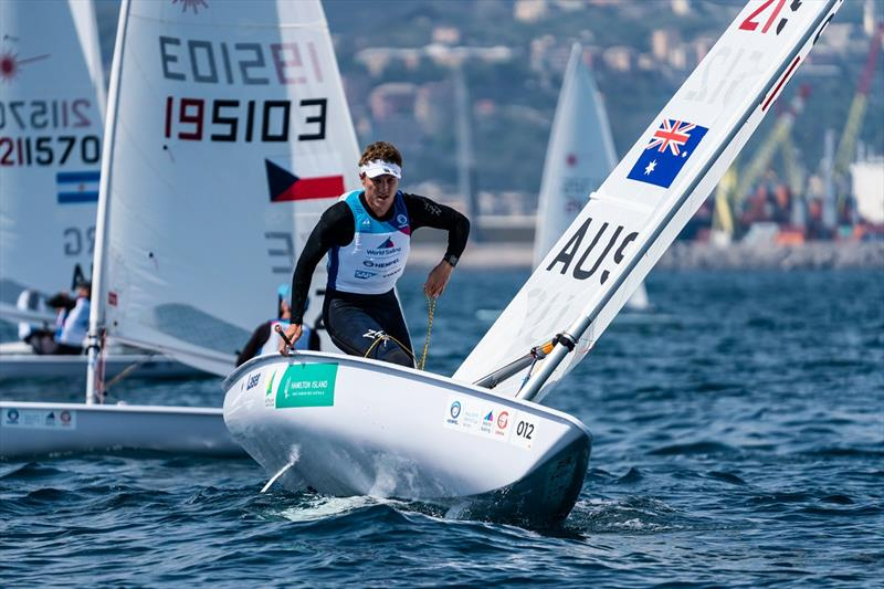 A balancing act for Luke Elliott - Genoa World Cup Series 2019 photo copyright Beau Outteridge taken at  and featuring the Laser class