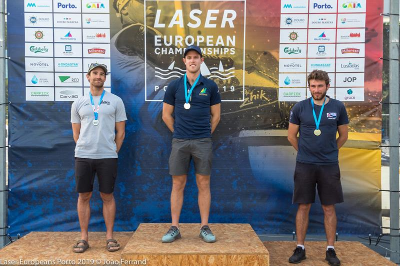 Laser European Championship 2019 - Podium - photo © Joao Ferrand
