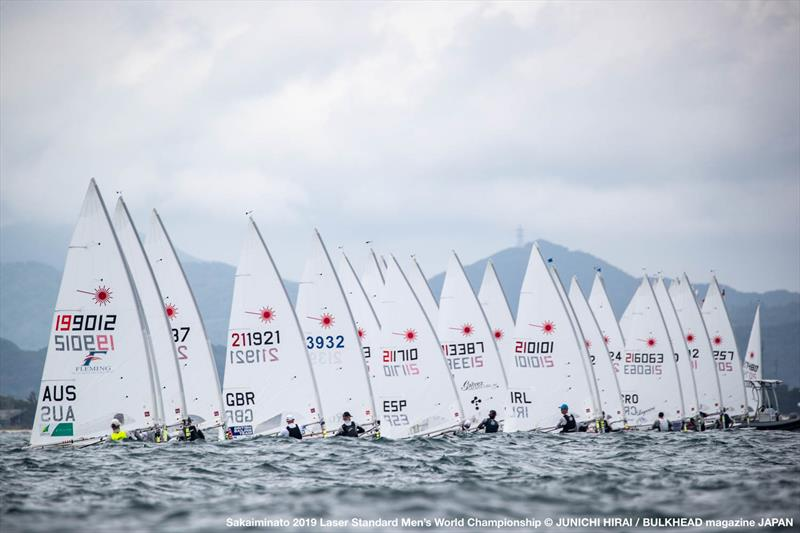 Start line on day 5 of the ILCA Laser Standard Men's World Championship photo copyright Junichi Hirai /  Bulkhead Magazine Japan taken at  and featuring the Laser class