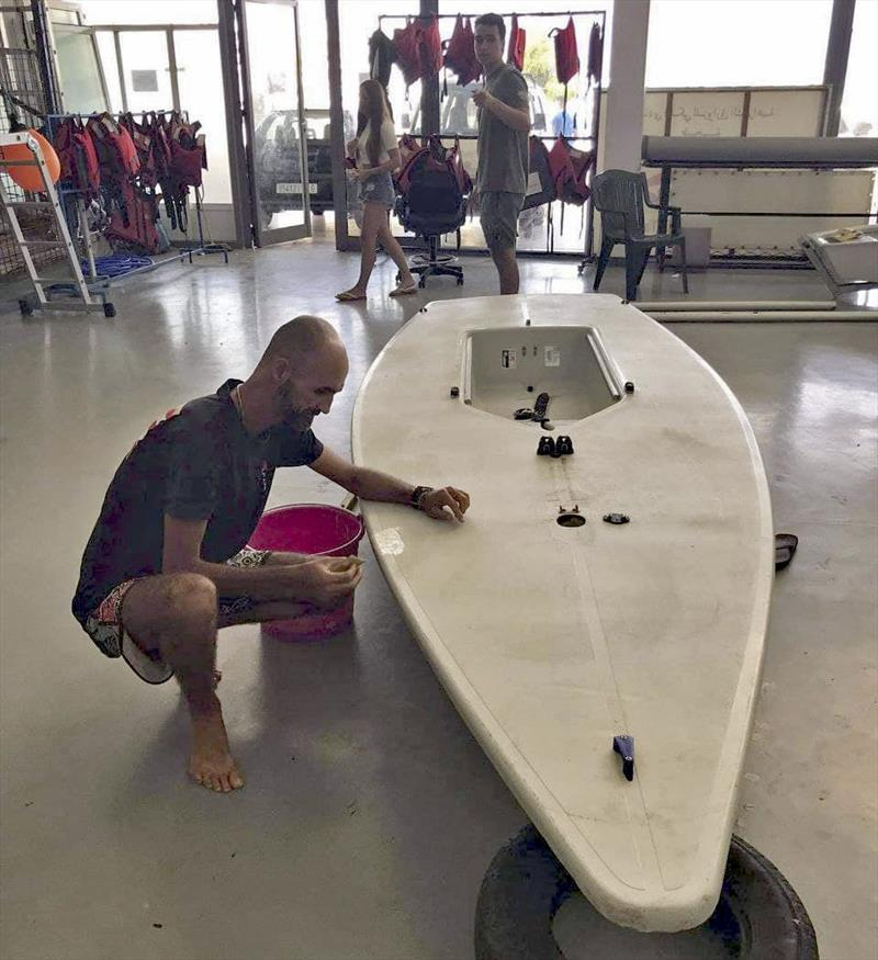 Repairs before commencing the World Record attempt of over 300nm - in a Laser! - photo © Yassine Drk