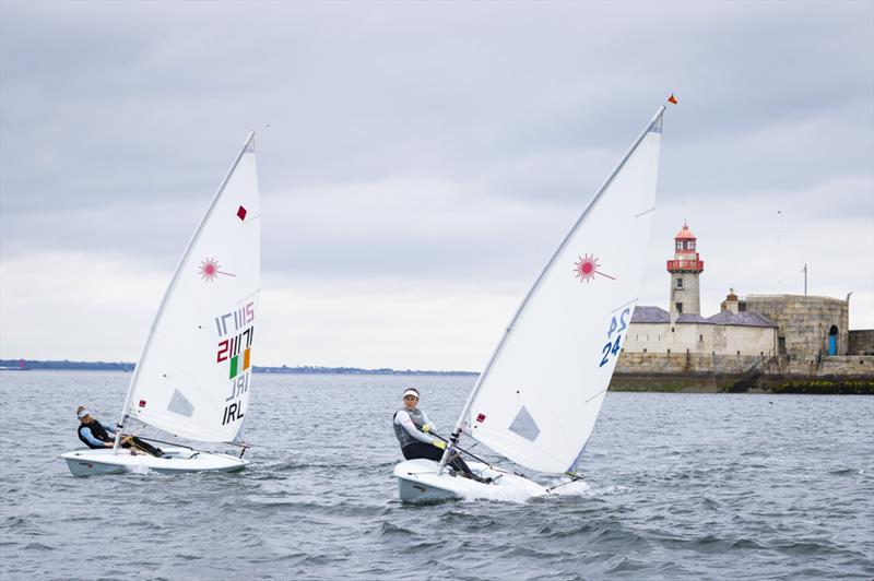 Olympic Silver medallist Annalise Murphy and fellow Toyko contender Aoife Hopkins in action on Dun Laoghaire Harbour photo copyright David Branigan / Oceansport taken at  and featuring the Laser Radial class