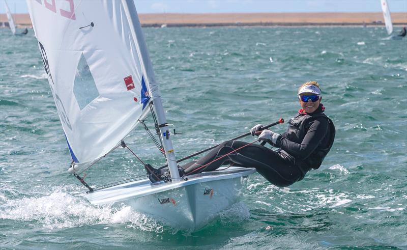 Arabella Sabberton during the UKLA ILCA 6 Masters Nationals at the WPNSA  - photo © Georgie Altham