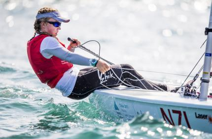 Annabelle Rennie-Younger (NZL) sailing on Day 3 of the 2017 Youth Worlds in Sanya, China - photo © Jesus Renedo / Sailing Energy / World Sailing