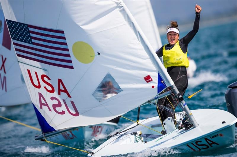 American Laser Radial Girls celebrating - Charlotte Rose - photo © Tomas Moya / Sailing Energy / World Sailing