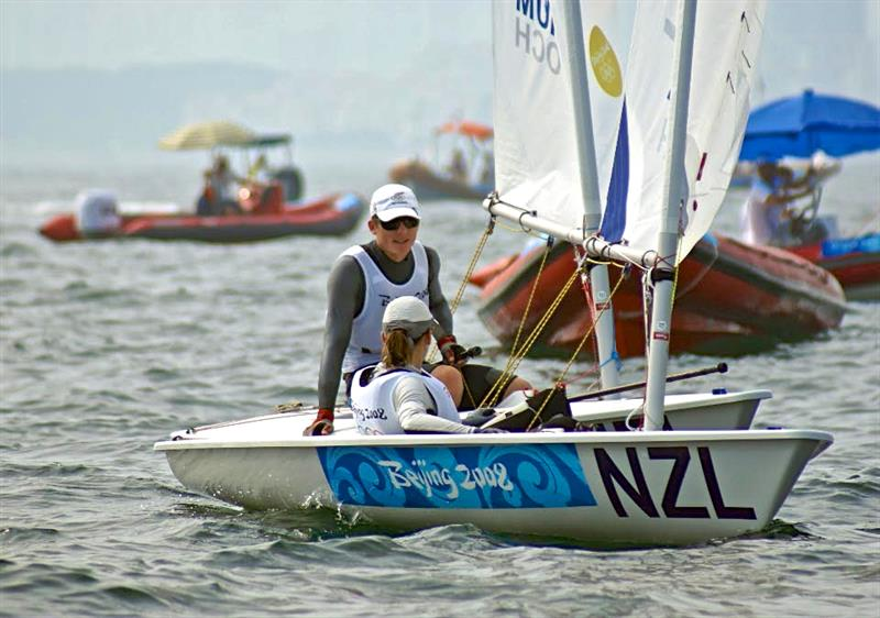 Jo Aleh (Laser Radial) and Andrew Murdoch (Laser) - Qingdao Olympic Regatta 2008 - photo © Richard Gladwell