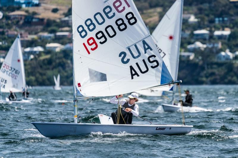 World Laser Radial champion Zac Littlewood (WA) continues to lead the fleet - Day 2, Australian Sailing Youth Championships 2019 - photo © Beau Outteridge