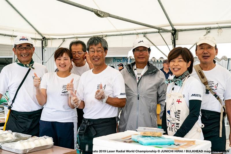 A happy volunteer crew at the Laser Cafe on day 3 of the ILCA Laser Radial World Championships in Japan - photo © Junichi Hirai / Bulkhead Magazine Japan
