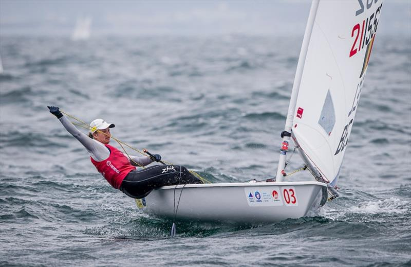 Belgium's Emma Plasschaert - Hempel World Cup Series Enoshima, day 3 - photo © Jesus Renedo / Sailing Energy / World Sailing