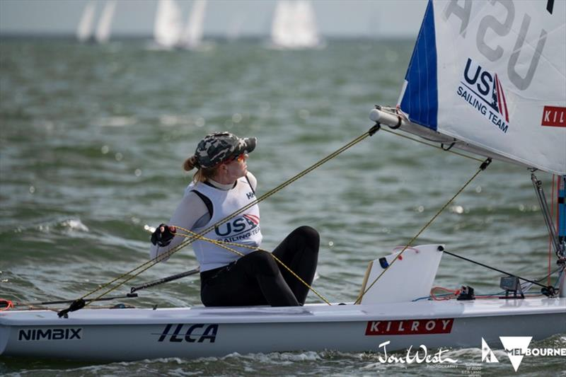 Paige Railey at the 2020 ILCA Women's Laser Radial World Championships, day 1 - photo © Jon West Photography