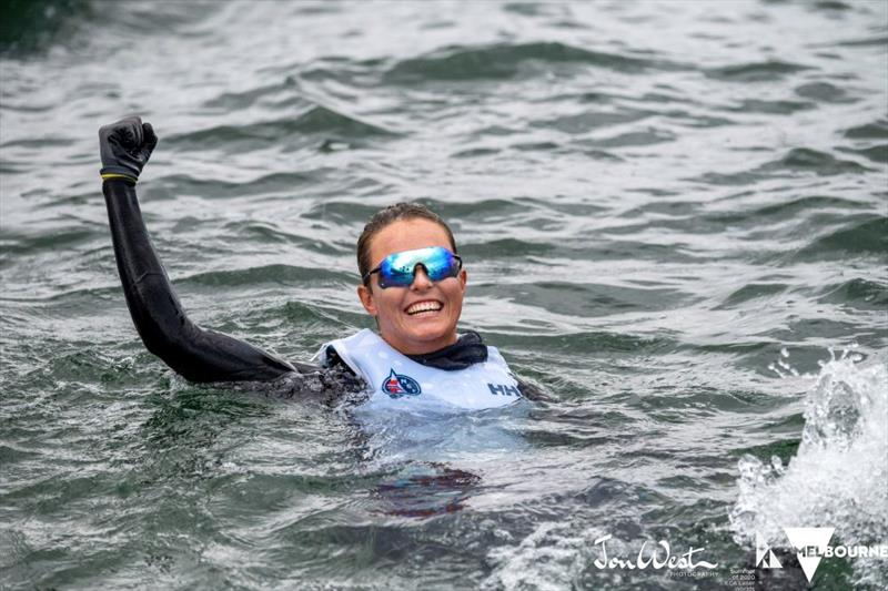 Bronze medallist Line Flem Host celebrates with a dip - Laser Radial World Championship 2020 - photo © Jon West Photography