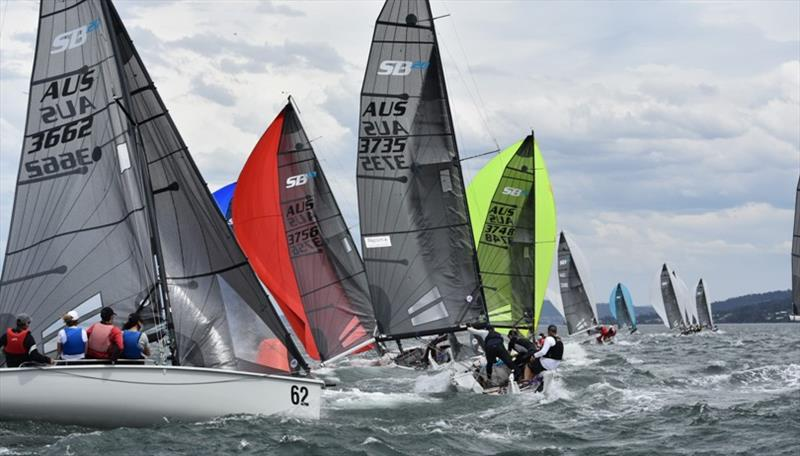 Gusty wind kept the fleet on their toes in the SB20 Australian Championship day 1 - photo © Jane Austin