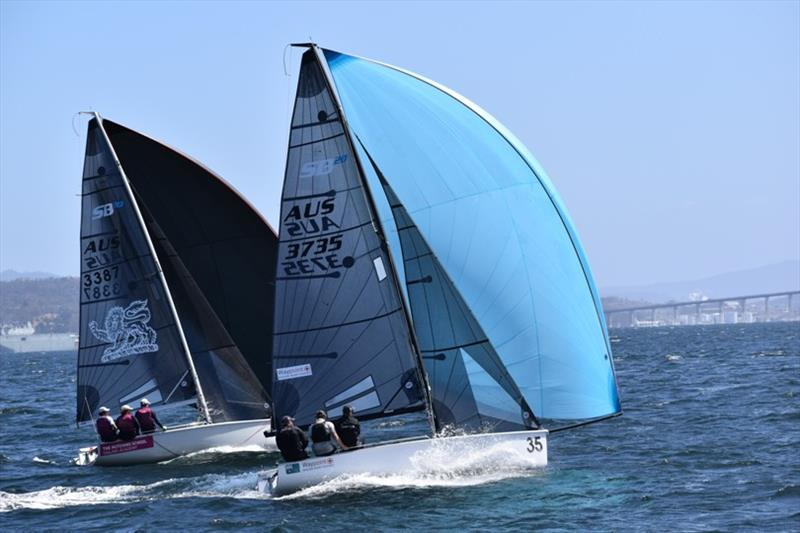 Victoria's Chris Dare sailing the SB20 Ambition with son Lockie and Ben Lamb - Banjo's Shoreline Crown Series Bellerive Regatta 2020 - photo © Jane Austin