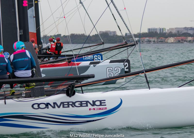 Team Convergence in an intense reaching start - Miami Winter Series 2 photo copyright Felipe Juncadella taken at  and featuring the M32 class