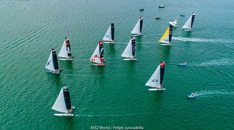 The M32 fleet in Miami February 2020 before the pandemic struck and the final event was cancelled. 2021 4 events will be held in Miami. photo copyright M32World / Felipe Juncadella taken at  and featuring the M32 class