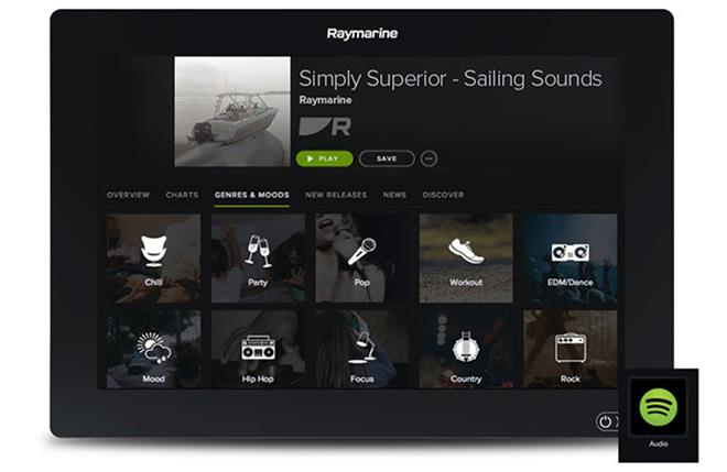 Play your favourite songs and discover new music with Spotify. A Wi-Fi internet connection, a Bluetooth audio device, and a valid Spotify subscription is required. - photo © Raymarine