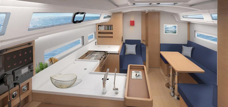 The interior of the 410 with central galley and day bed - photo © Jeanneau