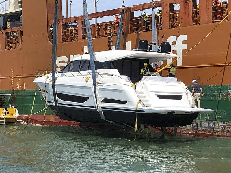 M and X Series Maritimo Motor Yachts on their way to owners in new Zealand and the USA - photo © Maritimo
