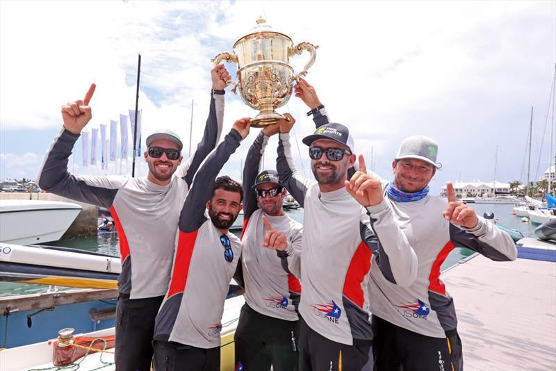 Taylor Canfield (left) and crew Victor Diaz de Leon, George Peet, Mike Buckley and Erik Shampain, champions of the 68th Argo Group Gold Cup photo copyright Charles Anderson / RBYC taken at Royal Bermuda Yacht Club and featuring the Match Racing class