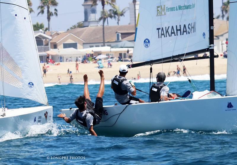 Leonard Takahashi being knocked overboard by Harry Price in 2017 Governor's Cup semi-finals. Both return this year. - photo © Mary Longpre