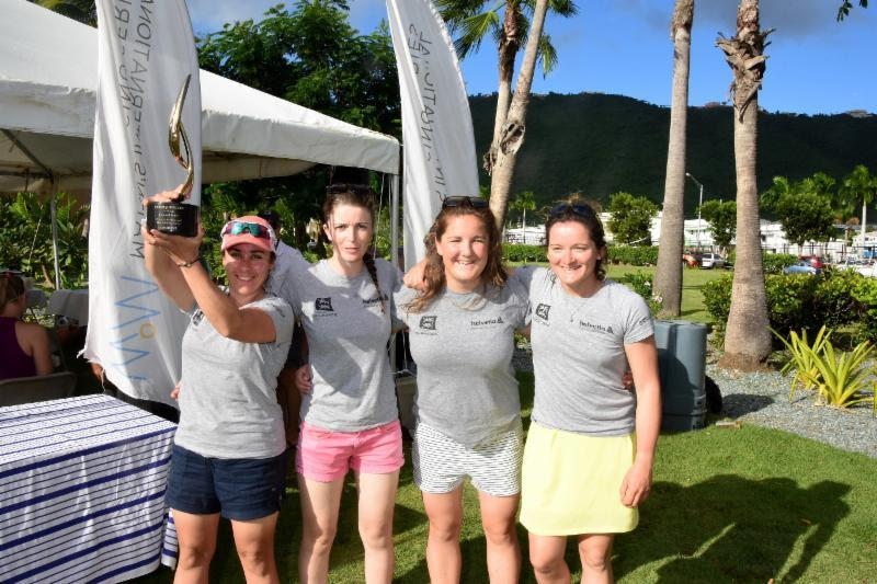 France's Pauline Courtois (far left) and her Match in Pink by Normandy Elite Team of Maëlenn Lemaître (third from right), Louise Acker (second from right) and Sophie Faguet (far right). Winners of the 2018 WIM Series Finale at Carlos Aguilar Match Race - photo © Dean Barnes