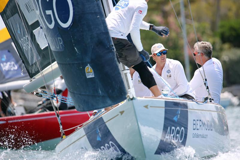 Ian Williams (second from right) and his Team GAC Pindar crew from the U.K. hold second place after the first day of racing at the Argo Group Gold Cup - photo © Charles Anderson