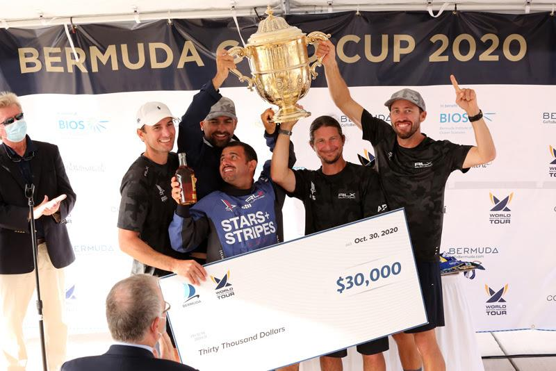 Team Stars Stripes (from left) Mike Menninger, Mike Buckley, Victor Diaz de Leon, Eric Shampain and skipper Taylor Canfied, winners of the 70th Bermuda Gold Cup and 2020 Open Match Racing World Championship - photo © Charles Anderson