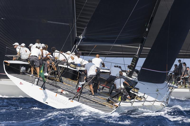 Cannonball's winning move, ducking transoms at the start on day 2 of the Maxi Yacht Rolex Cup - photo © Studio Borlenghi / International Maxi Association