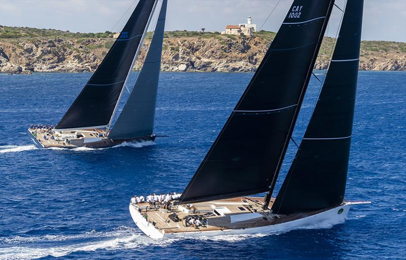 Sir Lindsay Owen-Jones's Magic Carpet Cubed and David M. Leuschen's Galateia fight it out in the Wally class - Maxi Yacht Rolex Cup 2018 - photo © Rolex / Studio Borlenghi