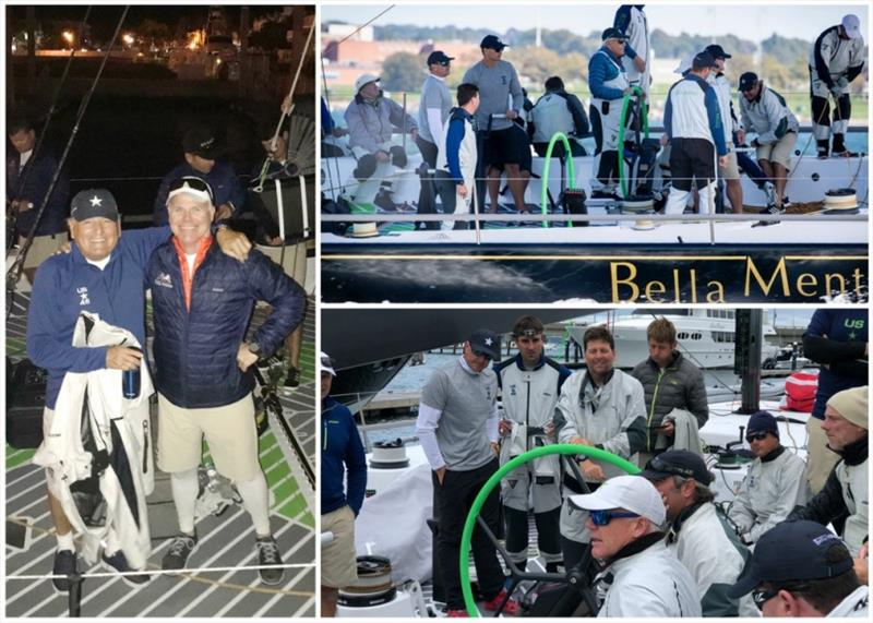 Clockwise from left: Hap Fauth with Terry Hutchinson after the Wirth W. Munroe Race, Fauth at the helm of Bella Mente during training, crew debrief after training. - photo © Jennifer Tille