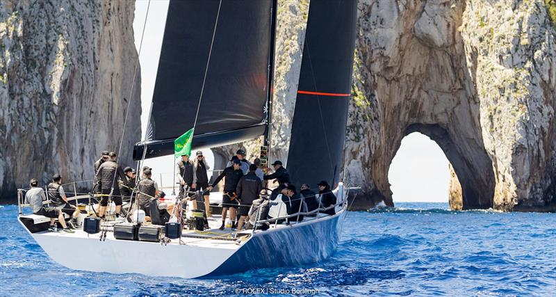 Caol Ila R, Alex Schaerer's Maxi 72 out training near the Faraglioni today - Rolex Capri Sailing Week photo copyright Carlo Borlenghi taken at Yacht Club Capri and featuring the Maxi 72 Class class
