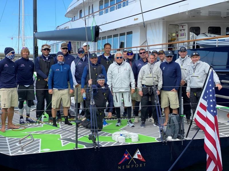 Hap Fauth (center) and his crew are reunited aboard the Maxi 72 Bella Mente and will sail in the New York Yacht Club's Race Week at Newport presented by Rolex followed by the Queen's Cup. - photo © Amy Laing / Bella Mente Racing