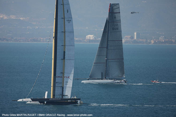 BMW Oracle Racing win the first race of the 33rd America's Cup - photo © Gilles Martin-Raget / BMW Oracle Racing