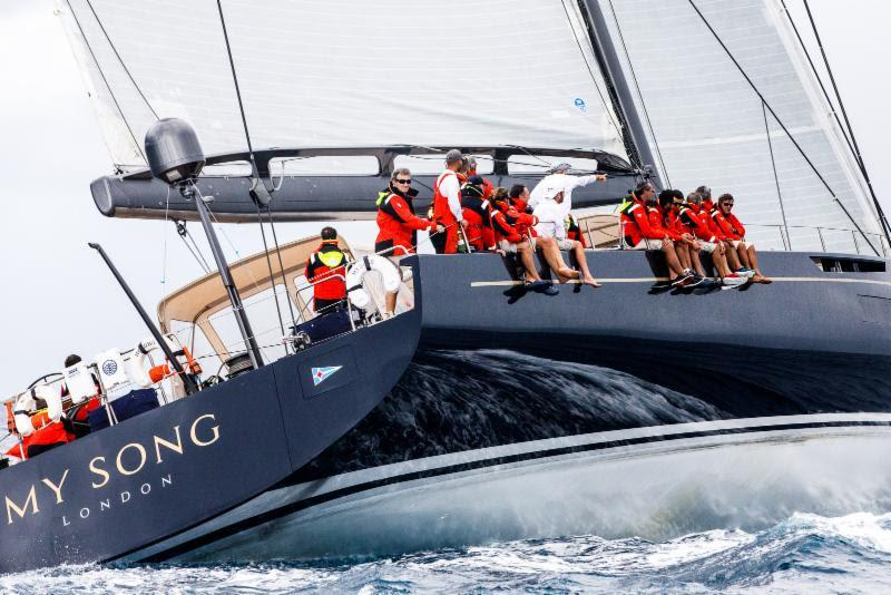 My Song, the largest yacht in the 2018 RORC Transatlantic Race arrives at the finish in Grenada - photo © RORC / Arthur Daniel